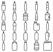 stock photo of plastic bottle  - Stock vector illustration of a set of plastic bottles and other containers - JPG