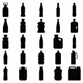 Set Of Silhouettes Of Plastic Bottles And Other Containers