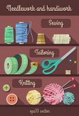 Set of tools and materials for fancywork and needlework. Eps10 vector illustration