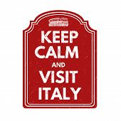 Keep Calm And Visit Italy Stamp
