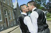 foto of gay wedding  - Portrait of a loving gay male couple on their wedding day - JPG