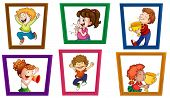 Illustration of children in photo frames