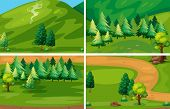 Illustration of different scenes of national park