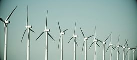 picture of production  - group of windmills for renewable electric energy production - JPG