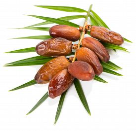 foto of cluster  - cluster of date fruits with green leaf isolated on a white background - JPG