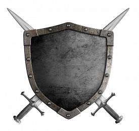 picture of shield  - coat of arms medieval knight shield and crossed swords isolated - JPG