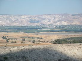 foto of promises  - The valley of the biblical Jordan river is the scenario of the Land of Promise conquest by the leader Joshua and the People of Israel