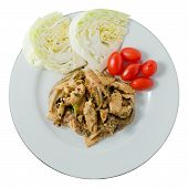 picture of thai cuisine  - Thai Cuisine and Food Thai Traditional Nam Tok or Spicy Sliced Grilled Pork Salad Served with Cabbage and Cherry Tomatoes - JPG