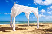 image of altar  - Wedding altar on caribbean beach in Dominican Republic - JPG