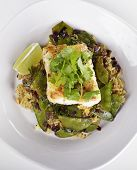 stock photo of cod  - Cod Fish Fillets With Rice and Peas - JPG