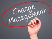 picture of change management  - Man hand writing Change Management on visual screen - JPG