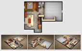 stock photo of basement  - House rendered plan and three isometric section views of a finished basement with furnished living room - JPG