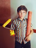 image of preteen  - preteen handsome boy with roll coaster and wallpaper  - JPG