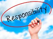 picture of responsible  - Man hand writing Responsibility on visual screen - JPG