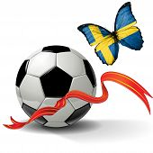 image of sweden flag  - Soccer ball with ribbon and butterfly with the flag of  Sweden - JPG