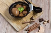 stock photo of stew  - Egg stewed is a traditional Thai dish commonly served everywhere in Thailand - JPG