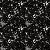 pic of silkscreening  - Vintage traditional tattoo biker seamless pattern - JPG