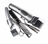 stock photo of clippers  - hair clipper comb and scissors on white background - JPG