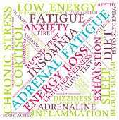 stock photo of neurotransmitter  - Adrenal fatigue word cloud on a white background - JPG