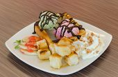picture of whipping  - Honey toast and whipping cream with chocolate sauce and ice cream - JPG