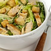 picture of caesar salad  - Classic Caesar Salad with croutons on white background - JPG