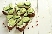 stock photo of cucumber  - Sandwich with cream cheese - JPG