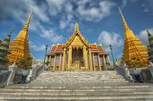 picture of emerald  - Golden pavilion in Wat Phra Kaew Temple of the Emerald BuddhaGrand palace in Bangkok Thailand - JPG