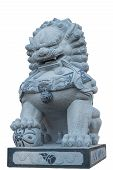 pic of guardian  - Isolated on white with clipping path of Chinese lion statue the guardian of the gate - JPG