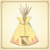 stock photo of teepee tent  - Sketch teepee house in vintage style vector - JPG