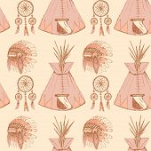 picture of wigwams  - Sketch native american - JPG