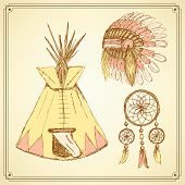 picture of tipi  - Sketch native american set in vintage style vector - JPG