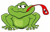 foto of tongue licking  - vector illustration of a frog who catches a fly with his tongue - JPG