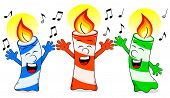 picture of singing  - vector illustration of cartoon birthday candles singing a birthday song - JPG