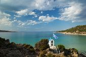 image of chapels  - greek chapel and the sea on a sunny day - JPG