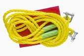 foto of towing  - Yellow towing rope isolated on a white background - JPG