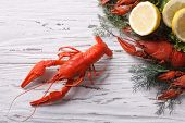 pic of crawfish  - boiled crawfish on the table close - JPG