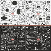foto of ampersand  - Very large collection of hand drawn vector design elements such as corners ribbons banners swirls catchwords ampersands and flags - JPG