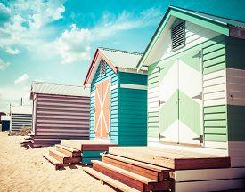 stock photo of bathing  - Bathing houses at Brighton Beach Australia - JPG