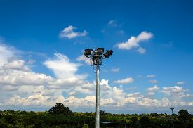 pic of light-pole  - Spot light pole with blue sky and cloud - JPG