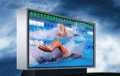 Swimming waterpool on the electronic monitor