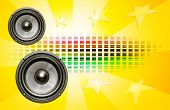 Two Speakers On Yellow Background