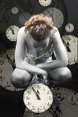 Collage With The Image Of Clocks And Silver Girl
