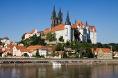 Cityscape Of Meissen In Germany With The Albrechtsburg Castle
