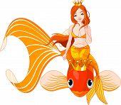 Постер, плакат: Русалка верхом на золотой рыбки