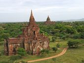 Landscape View With The River And Two Buddhist Temples, Bagan, Myanmar