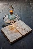 Book Of Poetry And Ancient Oil Lamp