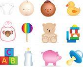 conjunto de ilustraciones de objetos de bebé y juguetes