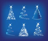 christmas trees modern illustration in a loose abstract style on blue