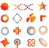 illustrations of colour logo marks and symbols
