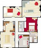 Typische Grundriss eines Hauses in Farbe mit Möbeln